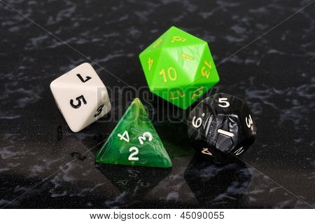 Unusual shaped dice.