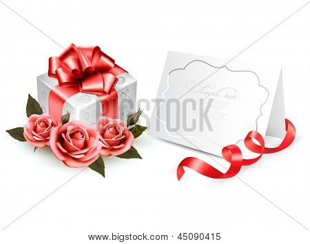Greeting card with a ribbon, a present and three roses. Holiday background. Vector.
