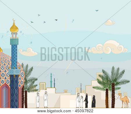 "Islamic prayer time ""Salah"" - High detailed vector illustration of islamic community in prayer time going to the mosque with arabian architecture background poster"