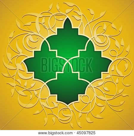 islamic pattern in green with gold floral background