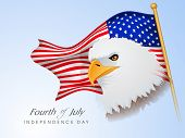 Happy American Independence Day background with eagle, waving flag and Fourth of July text. poster