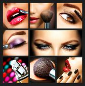 Makeup Collage. Professional Make-up Details. Makeover poster