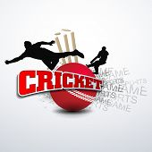 Cricketers in playing action on cricket ball with text Cricket.. poster
