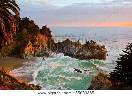McWay Falls in Big Sur at sunset, California
