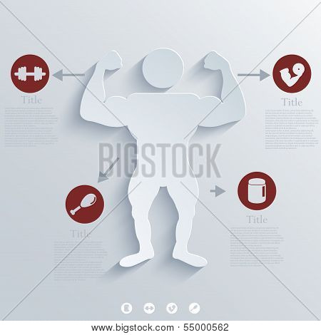 Vector Muscled Body background. Eps10 creative illustration poster