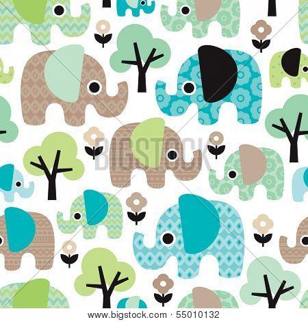 Seamless retro flowers elephant kids illustration pattern wallpaper background in vector