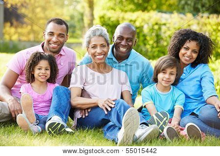 Multi Generation African American Family Sitting In Garden