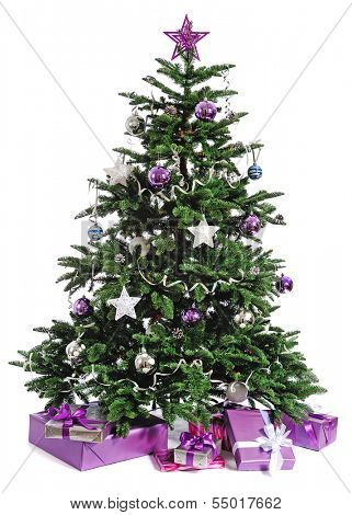 decorated Christmas tree with gifts on white background