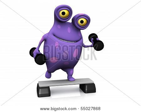 A Spotted Monster Exercising With Dumbbells.