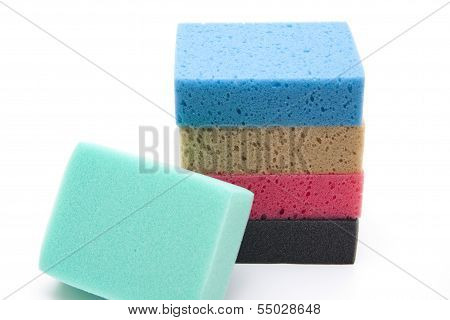 Different Kitchen Sponge on white background
