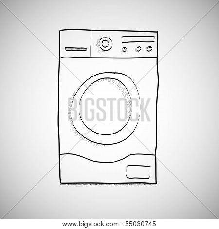 Washing machine. Hand drawn sketch