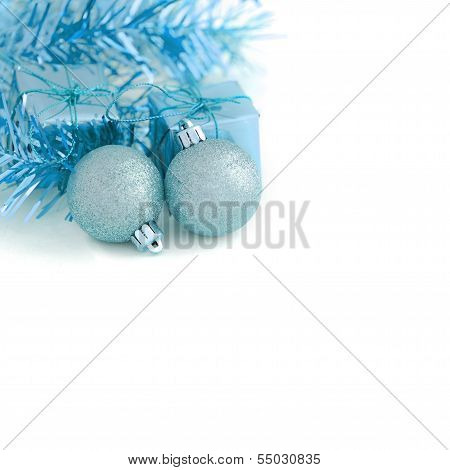 Two Blue Ball With Gift Box New Year And Christmas