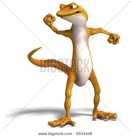 funny toon gecko. 3D render with clipping path and shadow over white poster