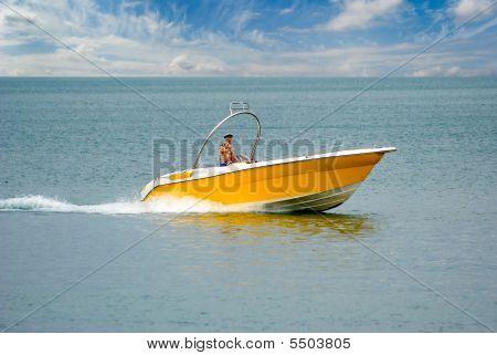 Yellow Speed-boat