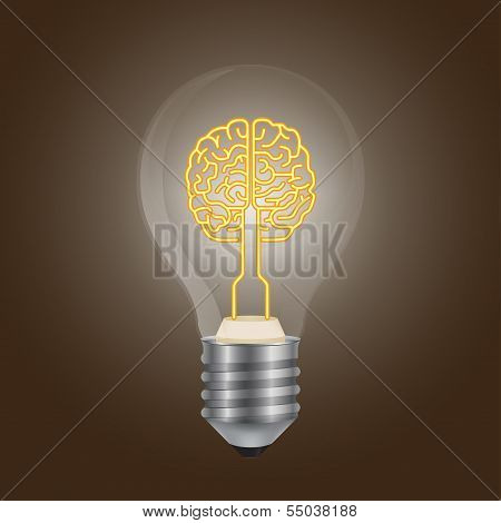 Brain symbol in a lamp 3d