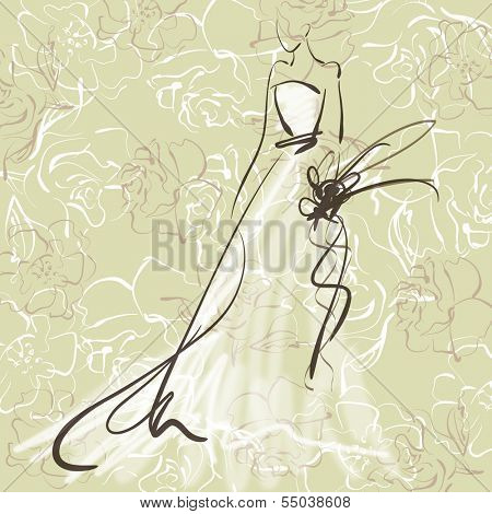 art sketch of beautiful young  bride with the bride's bouquet on floral sepia background with space for text; #53 poster
