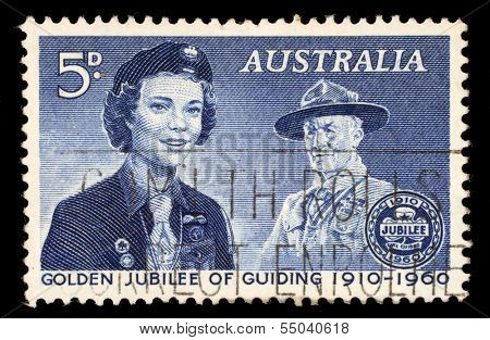 AUSTRALIA - CIRCA 1960: a stamp printed in the Australia shows Girl Guide and Lord Baden-Powell, 50th Anniversary of the Girl Guides, circa 1960