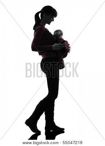 one caucasian woman mother walking baby silhouette on white background