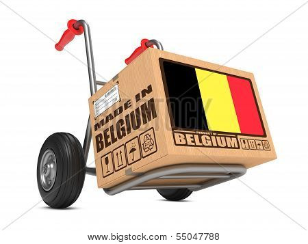 Made in Belgium - Cardboard Box on Hand Truck.