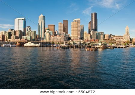 Elliot Bay And Downtown Seattle, Usa