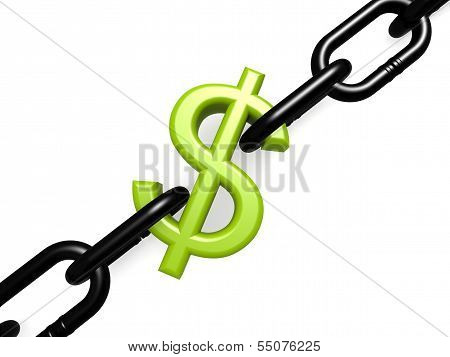 Green dollar and chain