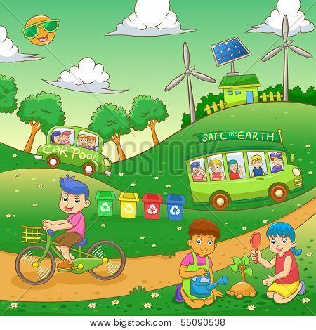 children Save our green world.
