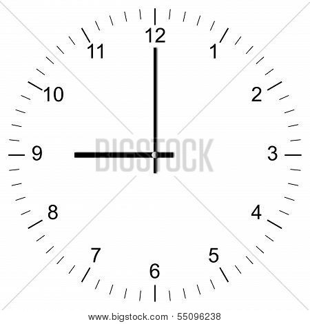 Clock Illustration 9:00