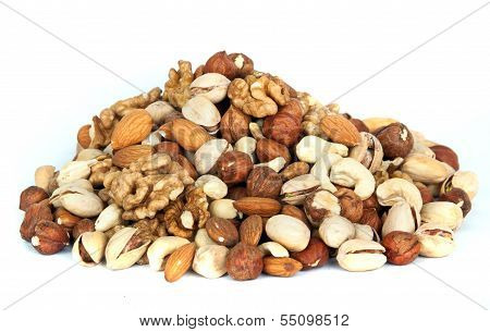 assorted nut mix isolated on white background poster