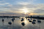 Sunset on the peaceful harbor at Howth (Dublin bay area - Ireland). poster