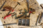 image of classic vintage old carpenter tools on work wood table poster