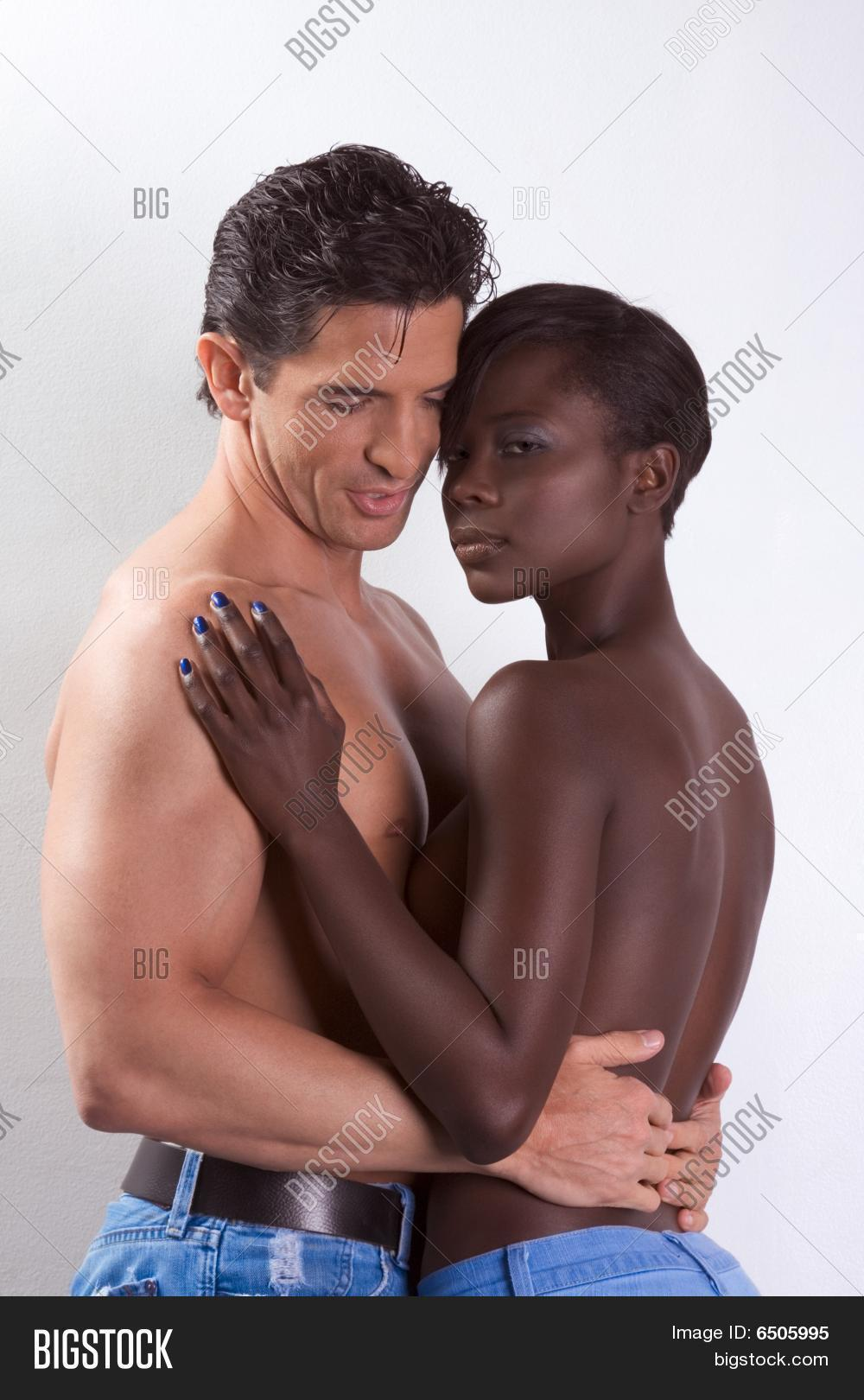 Naked african women and man in love