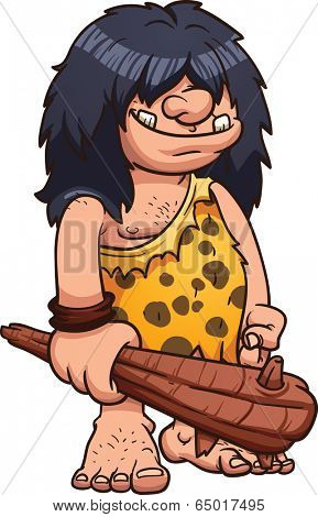 Cartoon caveman. Vector clip art illustration with simple gradients. All in a single layer.