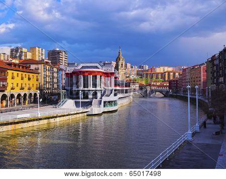 Mercado de la Ribera - Riverside Market and the Nervion River in Bilbao Biscay Basque Country Spain poster