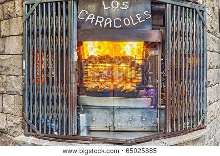 Los Caracoles Restaurant In Barcelona, Spain.