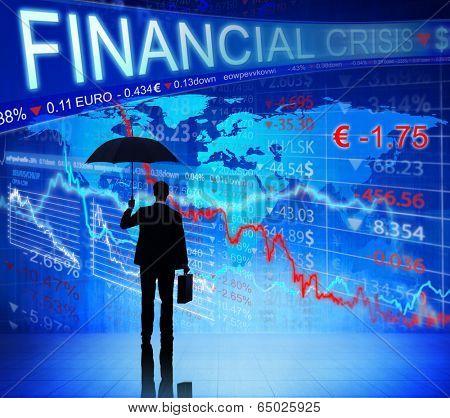 Businessman on Finacial Crisis