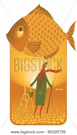 Fisherman by the sea with a big fish in the sky poster