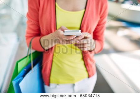 Female customer with cellular phone and shopping bags in the mall