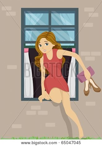Illustration of a Girl Sneaking Out from Her Bedroom Window