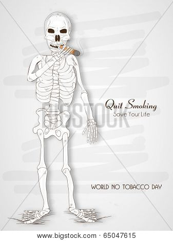World No Tobacco Day poster, banner or flyer design with human skeleton and stylish text No Smoking on grey background.