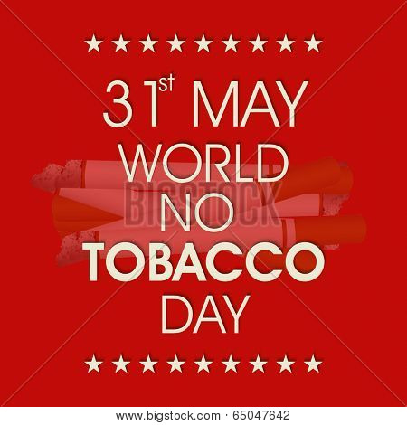 Poster, banner or flyer design for World No Tobacco Day with stylish text on burning cigarettes red background.