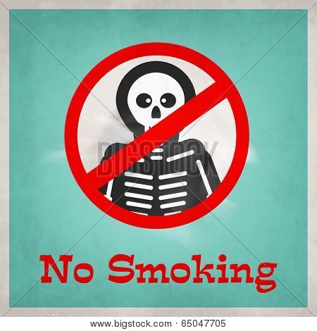 Poster, banner or flyer design for World No Tobacco Day with stylish text No Smoking and skeleton on green background.