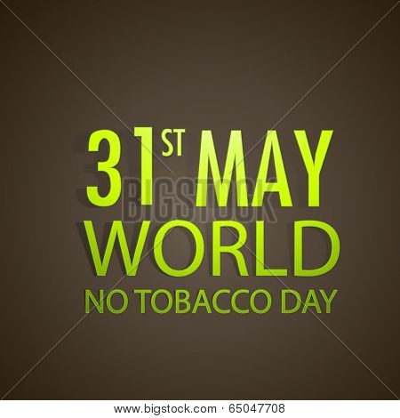 Poster, banner or flyer design for World No Tobacco Day with golden text on brown background.