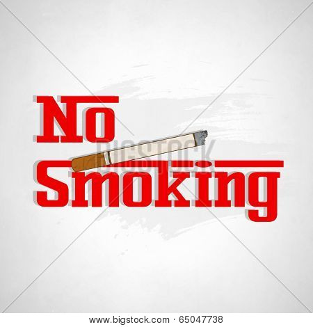 Poster, banner or flyer design for World No Tobacco Day with stylish text No Smoking and cigarette on grey background.
