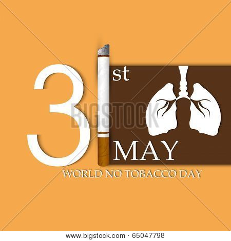 Poster, banner or flyer design for World No Tobacco Day with stylish text, burning cigarette and human lungs on brown and yellow background.