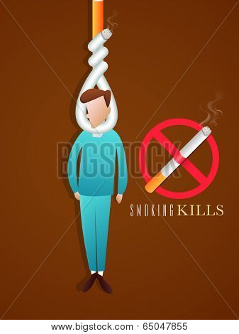 Poster, banner or flyer design for World No Tobacco Day with illustration hanging young man by cigarette rope and anti smoking symbol on brown background.