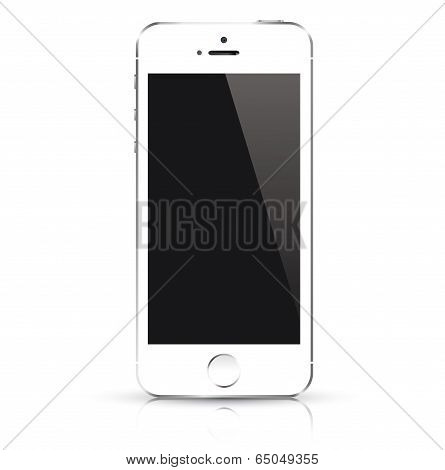 Modern white smart phone isolated. Vector illustration.
