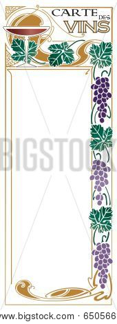 Restaurant beverage spirits and wine menu with grape leaf border in an art nouveau style - available in several different color schemes poster