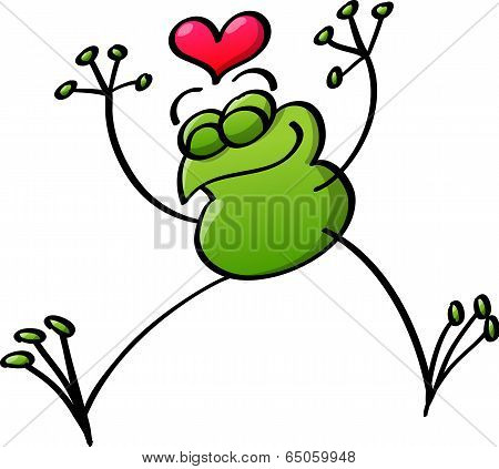 Frog in love jumping and celebrating