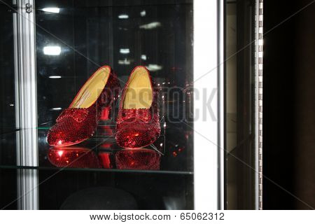 LOS ANGELES - MAY 14:  Ruby slippers made from Wizard of Oz specification at the