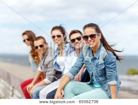 summer holidays and teenage concept - smiling teenage girl in sunglasses hanging out with friends outdoors
